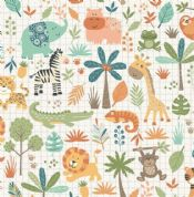 Jungle Friends - 7036 - Animal Montage on Cream Background  - 2197_Q - Cotton Fabric